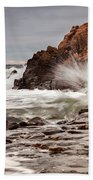Stormy Beach Waves Beach Towel