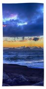 Stormy Icelandic Sunset Beach Towel