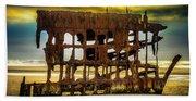 Stormy Shipwreck Beach Towel
