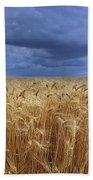 Stormy Wheat Field Beach Towel