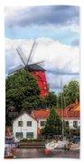 Windmill In Strangnas Sweden Beach Towel
