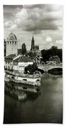 Strasbourg. View From The Barrage Vauban. Black And White Beach Towel