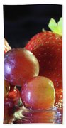 Strawberries And Grapes Beach Towel by Angela Murdock