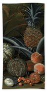 Strawberries In A Porcelain Bowl With Pineapples Melons Peaches And Figs Before A Tropical Landscape Beach Towel