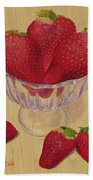 Strawberries In Crystal Dish Beach Towel