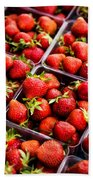 Strawberries With Green Weed In Plastic Containers  Beach Towel