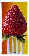 Strawberry On Fork Beach Towel by Garry Gay