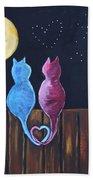 Stray Cats In Moonlight Beach Towel
