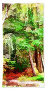 Streams In A Wood Covered With Leaves Beach Towel