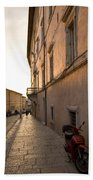 Street At Sundown In Assisi Beach Towel