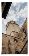 Street Behind The Barcelona Cathedral In Spain. Beach Towel