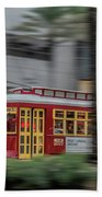 Street Car Flying Down Canal Beach Towel