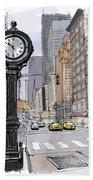 Street Clock On 5th Avenue Handmade Sketch Beach Towel
