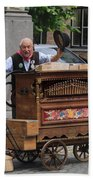 Street Entertainer In Bruges Belgium Beach Towel