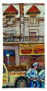 Street Hockey Pointe St Charles Winter  Hockey Scene Paul's Restaurant Quebec Art Carole Spandau     Beach Towel