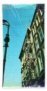 Street Lamp And Fire Escape Beach Towel