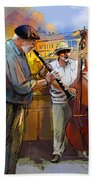 Street Musicians In Prague In The Czech Republic 01 Beach Towel