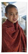 Street Portrait Of A Young Monk Beach Towel