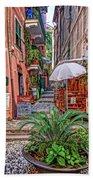 Street Scene Monterosso Italy Dsc02470 Beach Towel