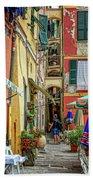 Street Scene Vernazza Italy Dsc02651 Beach Towel