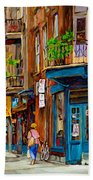 Streets Of Montreal Over 500 Prints Available By Montreal Cityscene Specialist Carole Spandau Beach Towel