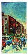 Streetscenes Of Montreal Hockey Paintings By Montreal Cityscene Specialist Carole Spandau Beach Towel