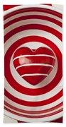 Striped Heart In Bowl Beach Towel by Garry Gay