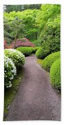 Stroling Garden Path In Japanese Garden Beach Sheet