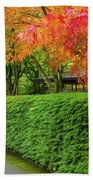 Strolling Path Lined With Japanese Maple Trees In Fall Beach Towel