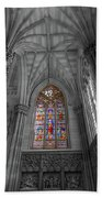 Structures Of St. Patrick Cathedral Bw Beach Towel
