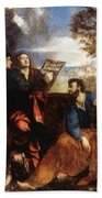 Sts John And Bartholomew With Donors 1527 Beach Towel