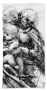 Study For A Madonna With A Cat Beach Towel
