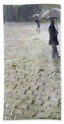 Study For A Paris Street Rainy Day Beach Towel by Gustave Caillebotte