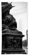 Sturgeon Lamp Post With Big Ben London Black And White Beach Towel