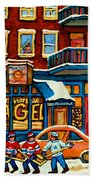 St.viateur Bagel Hockey Montreal Beach Towel by Carole Spandau