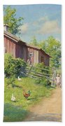 Subjects With Girl And Pecking Chickens Beach Towel