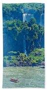 Subtropical Vegetation Surrounds Waterfalls In Iguazu Falls National Park-brazil Beach Towel