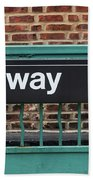 Subway Sign In New York City Beach Towel