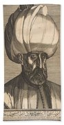 Suleyman The Magnificent , Engraved By Melchior Lorck Beach Towel