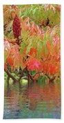 Sumac Tree Autumn Reflections Beach Towel