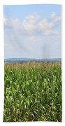 Summer Corn And Blue Skies In Maine  Beach Towel