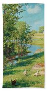Summer Day By The Stream Beach Towel