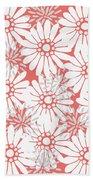 Summer Flowers Red Beach Towel