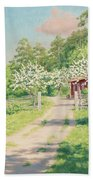 Summer Landscape With House Beach Towel