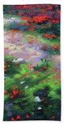 Summer Petals On A Forest Ground Beach Sheet