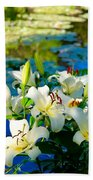 Summer Pond French Lilies Beach Towel