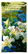 Summer Pond French Lilies Beach Sheet