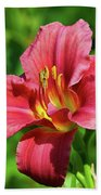 Summer Red Lily Beach Towel