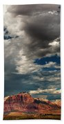 Summer Thunderstorm Clouds Form Over West Temple Zion National Park Utah Beach Towel