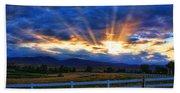 Sun Beams In The Sky At Sunset Beach Towel